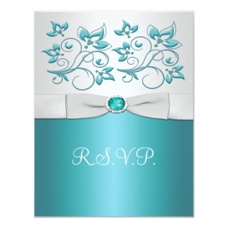 Aqua-marine and Silver Reply Card II