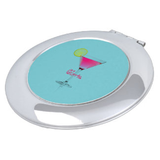 Aqua-Martini-Cocktails-Aqua-Fushia-Fun-Monogram Travel Mirrors