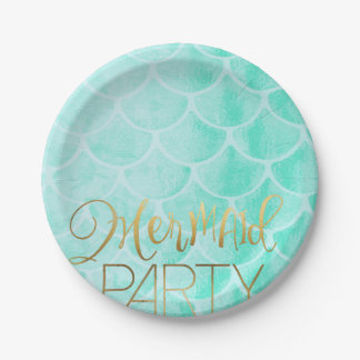 Aqua Mermaid Party | Under The Sea Birthday Paper Plate