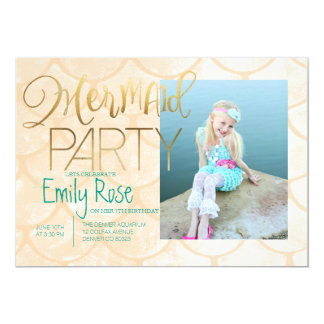 "Aqua Mermaid Party | Under The Sea Birthday Photo 5"" X 7"" Invitation Card"