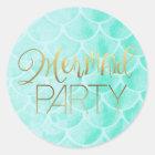 Aqua Mermaid Scales | Gold Typography Classic Round Sticker
