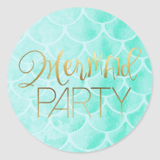 Aqua Mermaid Scales | Gold Typography Classic Round Sticker