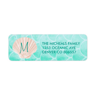 Aqua Mermaid Scales | Seashell Custom Address Return Address Label