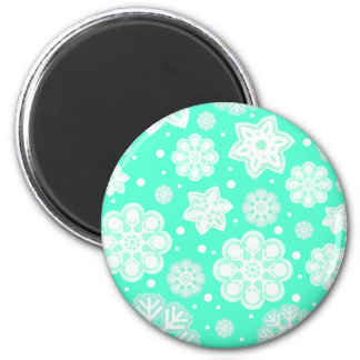 Aqua Mint Christmas Snowflake Pattern 2 Inch Round Magnet