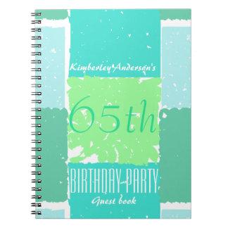 Aqua Mint Green Colors 65th birthday Guest Book Spiral Notebooks