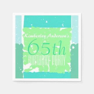 Aqua Mint Green Colors 65th birthday paper napkins