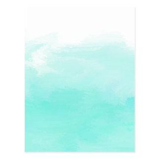 Aqua mint green watercolor brush strokes postcard