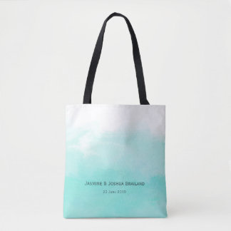 Aqua mint green watercolor brush strokes tote bag