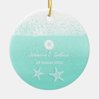 Aqua mint green watercolor sand dollar starfish ceramic ornament