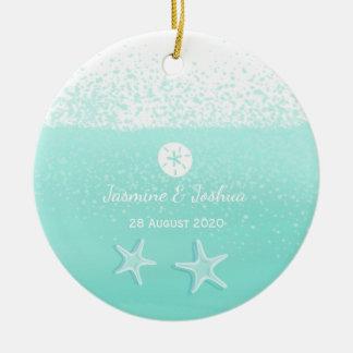 Aqua mint green watercolor sand dollar starfish round ceramic ornament