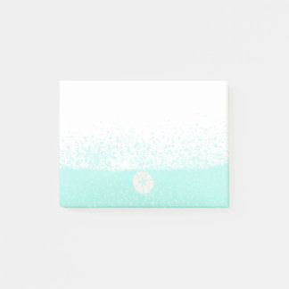 Aqua mint green watercolor splats sanddollar post-it® notes