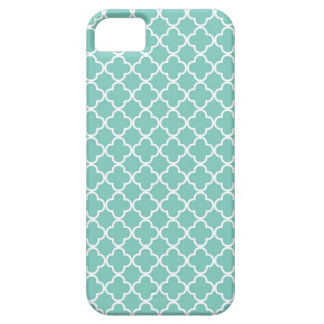 Aqua Mint Quatrefoil Pattern Case For The iPhone 5