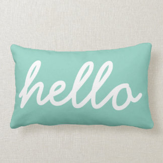 Aqua Modern Hello Throw Pillow