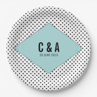 Aqua Modern Polka Dots Wedding 9 Inch Paper Plate