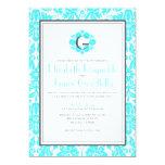 Aqua Monogram Damask Wedding Invitations Custom Announcement