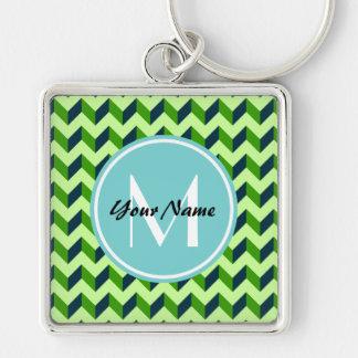 Aqua Monogram Green Chevron Patchwork Pattern Silver-Colored Square Keychain