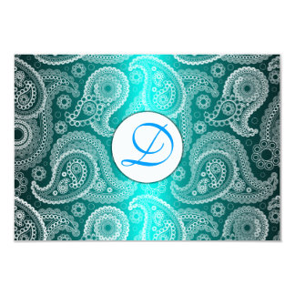 Aqua Monogram Lace India Wedding Invitation RSVP