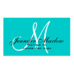 Aqua Monogram Mommy Calling Card Business Cards