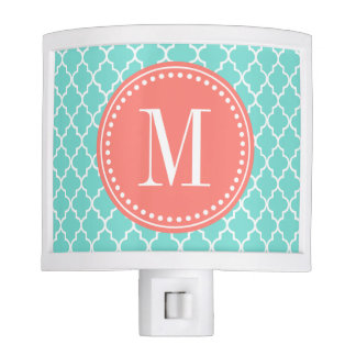 Aqua Moroccan Tiles Lattice Personalized Night Light