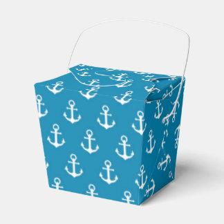 Aqua Nautical Anchors Wedding Favor Boxes
