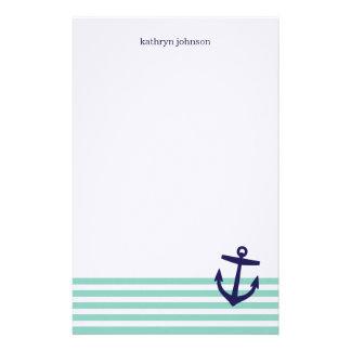 Aqua & Navy Blue Nautical Stripes & Cute Anchor Stationery