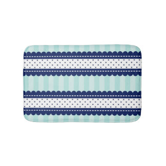 Aqua Navy Blue Stripes And Polka Dots Pattern Thro Bath Mat