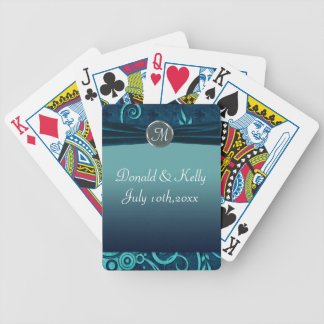 Aqua & Navy Blue Velvet Wedding Swirl Bicycle Playing Cards