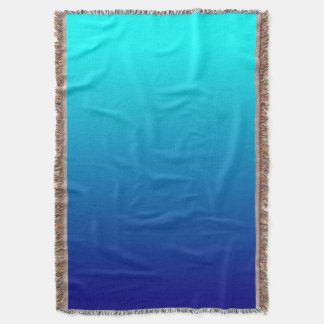 Aqua Navy Ombre Background Throw Blanket