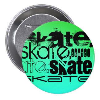 Aqua, Neon Green Gradient; Skate 3 Inch Round Button