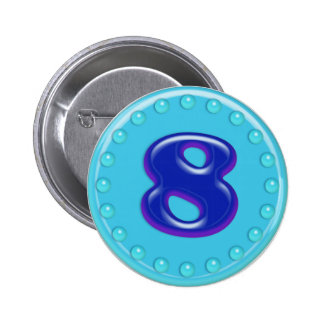 Aqua Number 8 Pins
