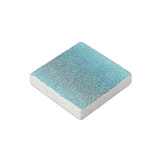 Aqua Ombre Zebra Print Stone Magnets
