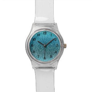 Aqua Ombre Zebra Print Watch