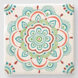Aqua orange lace mandala design coaster