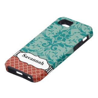 Aqua Orange Turquoise Moroccan Personalized iPhone iPhone 5 Cases