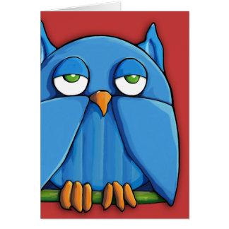 Aqua Owl red Note Card