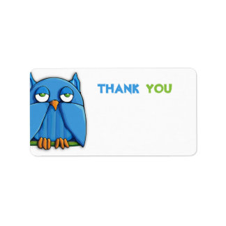 Aqua Owl Thank You Sticker