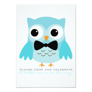 Aqua Owl with Bow Tie Baby Shower Invitation