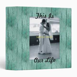 Aqua Painted Faux Wood Family Album Vinyl Binder