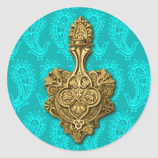 Aqua Paisley Peacocks Sticker / Envelope Seal