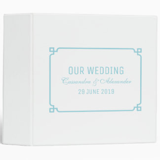 Aqua Paradise Deco Chic Wedding 3 Ring Binders