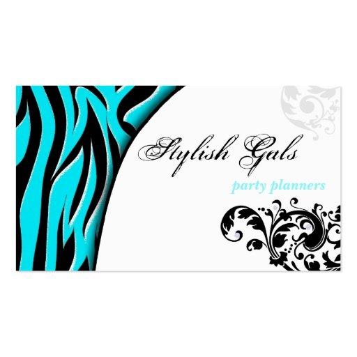 Aqua Party Planner Zebra Print Hip Business Card