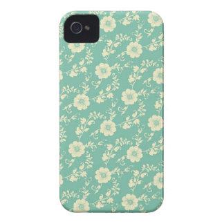 Aqua Pastel Blue Vintage Floral Print Pattern iPhone 4 Covers