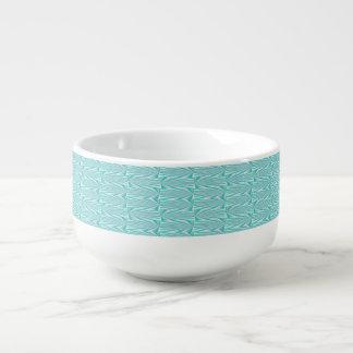 Aqua Pattern Soup Mug. Soup Mug