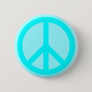 Aqua Peace Symbol 2 Inch Round Button