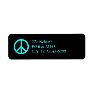Aqua Peace Symbol, The Nelson'sPO Box 12345City... Return Address Label
