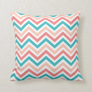 Aqua Peach Coral Chevron Pattern Toss Pillow