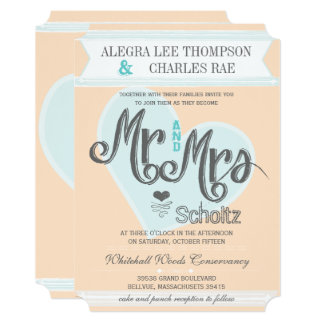 Aqua Peach Mr and Mrs Typography Weddings Card