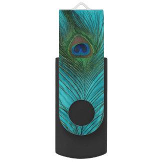 Aqua Peacock Feather Swivel USB 2.0 Flash Drive