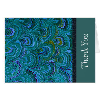 Aqua Peacock Feather Thank You Stationery Note Card