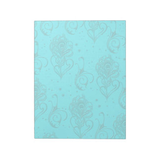 Aqua Peacock Feathers Notepad